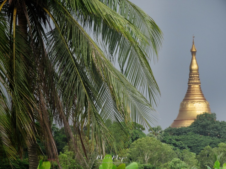 Shwedagon Pagoda from my Bedroom Window - Yangon Myanmar - by Anika Mikkelson - Miss Maps - www.MissMaps.com