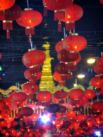 Sule Pagoda through Chinese Lanterns - Chinatown - Downtown Yangon Myanmar - by Anika Mikkelson - Miss Maps - www.MissMaps.com