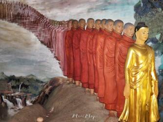 Tara - Female Buddha - Followed by Robbed Nuns at The Ngat Htat Gyi Pagoda - Yangon Myanmar - by Anika Mikkelson - Miss Maps - www.MissMaps.com
