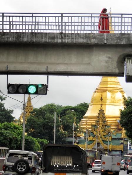 Walking Across Sule Pagoda - Yangon Myanmar - by Anika Mikkelson - Miss Maps - www.MissMaps.com