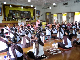 Women Meditating at Mahasi Sasana Yeiktha Meditation Center - Yangon Myanmar - by Anika Mikkelson - Miss Maps - www.MissMaps.com