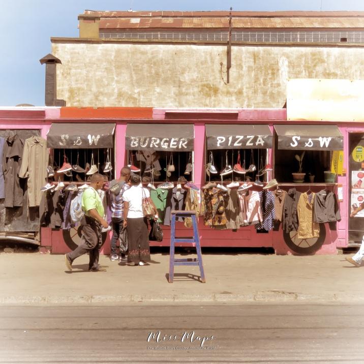Burger Pizza Clothes Shop - Antananarivo Madagascar - Tana Mada - by Anika Mikkelson - Miss Maps - www.MissMaps.com