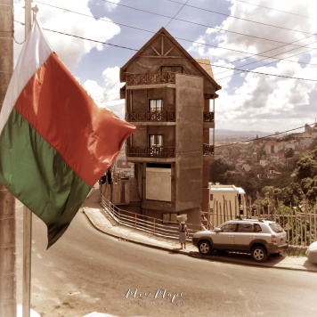 Madagascar Flag and View from my Hotel - Antananarivo Madagascar - Tana Mada - by Anika Mikkelson - Miss Maps - www.MissMaps.com
