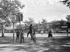 Underhanded Jump Shot - Basketball Practice - Rusinga Island, Kenya - by Anika Mikkelson - Miss Maps - www.MissMaps.com