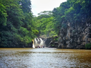 Visiting Waterfalls from the Boat- Ice Aux Cerfs - Mauritius - by Anika Mikkelson - Miss Maps - www.MissMaps.com