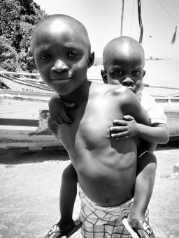 Girl and Her Brother in Black and White - Rucinga Island Kenya - by Anika Mikkelson - Miss Maps - www.MissMaps.com
