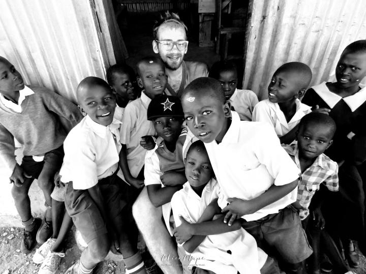 Luca and School Boys in Black and White 2 - Rucinga Island Kenya - by Anika Mikkelson - Miss Maps - www.MissMaps.com