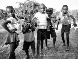 Posing School Children in Black and White - Rucinga Island Kenya - by Anika Mikkelson - Miss Maps - www.MissMaps.com