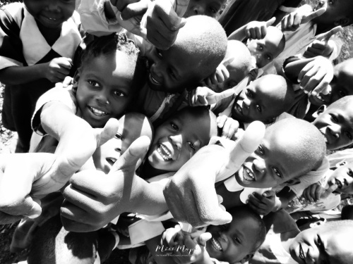 School Children in Black and White 1 - Rucinga Island Kenya - by Anika Mikkelson - Miss Maps - www.MissMaps.com