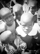 School Children in Black and White 2 - Rucinga Island Kenya - by Anika Mikkelson - Miss Maps - www.MissMaps.com