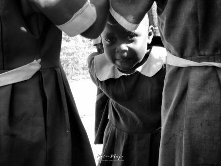 School Girl in Black and White 5 - Rucinga Island Kenya - by Anika Mikkelson - Miss Maps - www.MissMaps.com