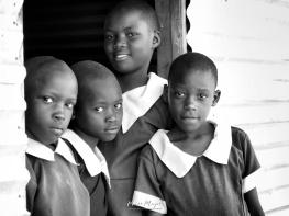 School Girls in Black and White 1 - Rucinga Island Kenya - by Anika Mikkelson - Miss Maps - www.MissMaps.com