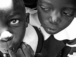 School Girls in Black and White 4 - Rucinga Island Kenya - by Anika Mikkelson - Miss Maps - www.MissMaps.com