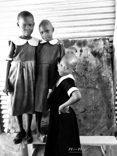 School Girls in Black and White 5 - Rucinga Island Kenya - by Anika Mikkelson - Miss Maps - www.MissMaps.com
