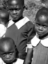 School Girls in Black and White 9 - Rucinga Island Kenya - by Anika Mikkelson - Miss Maps - www.MissMaps.com