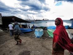 Women Walking at the Harbour - Moroni - Comoros - by Anika Mikkelson - Miss Maps - www.MissMaps.com