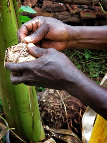 Making a Banana Leaf Soccer Ball - Jinja Uganda - by Anika Mikkelson - Miss Maps - www.MissMaps.com