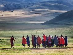 Jumping to Music - Maasai Tribe Near Ngorongoro Crater Tanzania - by Anika Mikkelson - Miss Maps - www.MissMaps.com